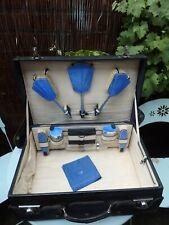 Vintage Art Deco Blue Leather Ladies Vanity Case & Blue Guilloche Enamel/Chrome
