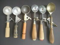 Lot Of 6 Vintage Ice Cream Scoops Roll Dippers