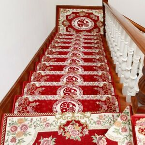 1x Euro Chenille Rug Stair Treads Mat Carpet Self-adhesive Non-slip Backing