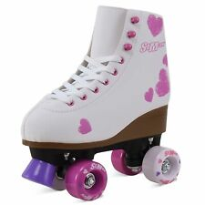 Quad Roller Skates for Girls and Women Size 8 Adult White and pink Heart Derby