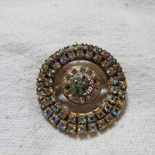 Vintage Daughters of Rebekah Gold Tone Aurora Borealis Rhinestone Pin Brooch