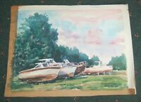 Original Watercolor Drydocked Boats in  Florida  marked F. Strothmann '82