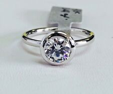 14K White Gold Classic Halo Solitaire Round Cubic Zirconia Ring, CZ 6mm/0.75ct