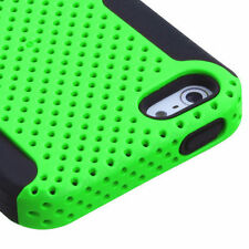 iPhone SE / 5S Lime Green Black Mesh Hard & Soft Silicone Hybrid Gel Case Cover