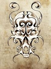 PAINTING DRAWING TATTOO SKETCH MOSTER SKULL GRUNGE ART PRINT POSTER MP3869A