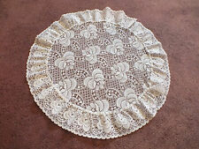 """Beautiful Lace Doily Table Linen White Lace Trim 18"""" Round NICE"""
