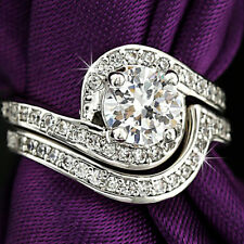 18K WHITE GOLD GF INFINITY SOLITAIRE DIAMONDS SOLID ENGAGEMENT WEDDING RING SET