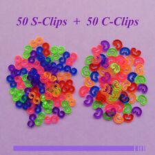Lot de 100 Clips Couleur (50 S-clips+50 C-clips) bracet elastique