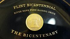 Flint Bicentennial River Bank Fund Raising Drive Tinted Glass Plaque Vintage '76