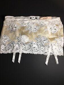 Victoria's Secret  small  Ivory Creamy Cream White & gold Garter BELT Skirt