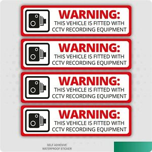 4 x Warning This Vehicle Is Fitted With CCTV Recording Equipment Sticker