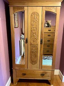Antique Edwardian Satinwood Wardrobe