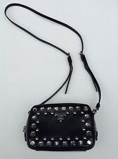 Prada Saffiano Lux Borchi Black Studded Leather CrossBody Bag w/Silvertone+FREE