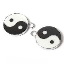 12pcs ON SALE Wholesale Enamel White&Black TaiJi Charms Alloy Pendants Findings