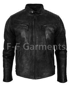 Mens Vintage Biker Style Moto Biker Cafe Racer Black Leather Jacket