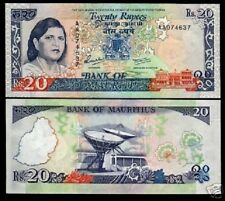 MAURITIUS 20 RUPEES P36 1986 *AA LADY JUGNAUTH UNC SATELLITE CURRENCY MONEY NOTE