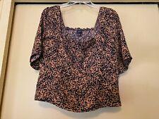 NEW Free Press Midriff Top Short Sleeve, Black/Bronze Smocked Back, NWT, Size XL