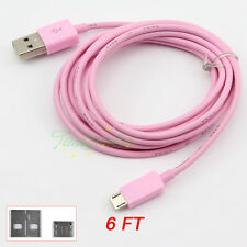 Pink Universal 2M 6FT Long Micro USB Data Charger Cable for Galaxy S6 LG Nexus 5
