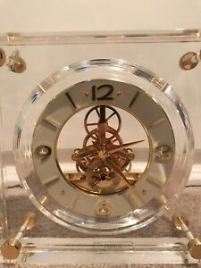 Vintage Seiko Clock Quartz Lucite Skeleton Movement Desk Mantel Shelf QAW105G