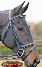 ENGLISH LEATHER SQUARE RAISED DRESSAGE  BRIDLE , NOSEBAND ,  BROWBAND & REINS