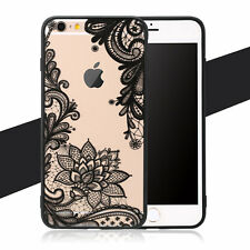 Lace Flower Pattern Silicone Bumper Clear Hard Case Cover for iPhone 6 6s 7 Plus