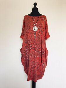 Made In Italy Lagenlook Red Animal Print Dress - UK Size 16 18 20 22