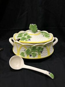 "Vintage Porcelain Ivory Hand Painted Soup Tureen With Ladle 12""x8"" Marked FG"