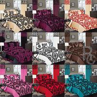 Damask Floral Duvet Cover Set Complete Bedding Set Single, Double & King Size