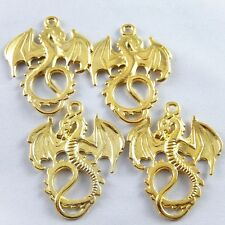 12pcs Gold Plated Alloy Flying Dragon Pendants 30x27mm Fashion Jewelry 37136