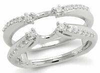 0.87 Ct Round Diamond Enhancer Wrap Engagement Wedding Ring 10k White Gold Over