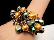 Rare Vtg Signed HAR Gold Tone Popcorn Kernel Amber Rhinestone Clamper Bracelet