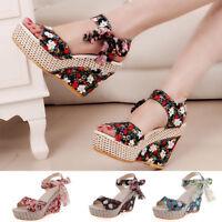Women Boho Beach Sandals High Platform Open Toe Floral Wedge Heels Summer Shoes