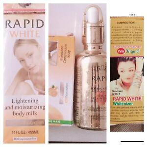 WHITE SKIN LIGHTENING BODY MILK 400ml + SERUM +SOAP+ WHITENIZER 4PCS SET