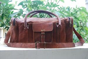 Men's Brown Vintage Genuine Leather Goat Luggage Duffle Gym Tote travelling bag