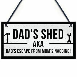 Funny Dads Shed Sign Hanging Man Cave Garden Plaque Fathers Day Gift For Dad