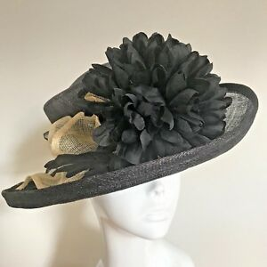 One Off Black Designer Millinery by Hat Couture Wedding Bridal Racing Hat