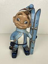 Vintage Atlantic Mold Company Skier Boy Smiley Boy Skiing Ski Ceramic Winter HTF