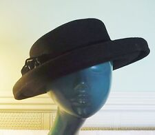 VINTAGE RETRO BOWLER WOOL & VELVET BLACK HAT BAND WITH ROSSETTE STYLISH CHIC