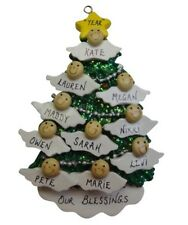 Personalized Angel Tree Family of 10 Christmas Ornament