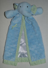 EUC HTF Mud Pie Blue Elephant Minky Dot Green Stripe Trim Security Baby Blanket
