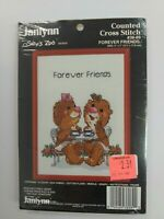 """Forever Friends Red Frame Suzy's Zoo Counted Cross Stitch Kit 5""""X7"""" Janlynn"""