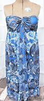 Maurices Women's Size XL Teal/Black/Gray Paisley Strapless Boho Maxi Dress
