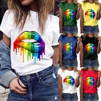 Summer Casual T-shirt Women's Loose Short-sleeved Shirt Color Lip Print Cotton T