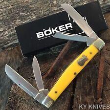 "BOKER PLUS 3 5/8"" YELLOW Handles 4 Blade Congress Folding Pocket Knife BO214Y"