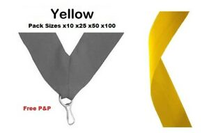YELLOW MEDAL RIBBONS LANYARDS WITH CLIP 22mm WOVEN PACKS OF 10/25/50/100