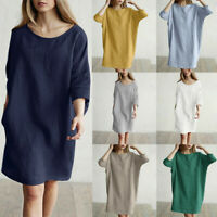 New Women Casual Solid Color Half Sleeved Cotton Linen Loose Pockets Tunic Dress