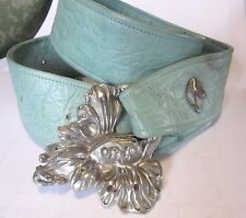 D N Evans For FAHRENHEIT Leather Belt With Buckle Leaf Teal Leather Medium 32