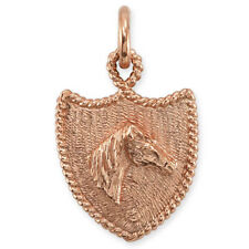 9ct Rose Gold Horse Head & Shield Pendant Or Large Charm (4.4g / Handmade UK)