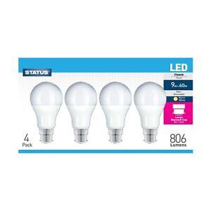 Status LED 9w = 60w,GLS Globe Bulb, Warm White, Non-Dimmable,B22 Bayonet, 4 Pack