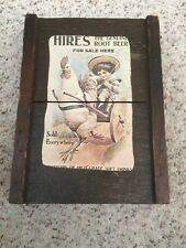 Vintage Hires Root Beer Advertising Sign on Wood RARE - Fast Ship!
